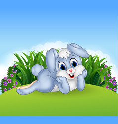Cute bunny lie down in the jungle vector