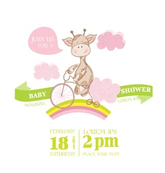 Baby shower or arrival card - with baby giraffe vector