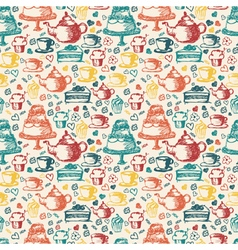 Seamless hand written pattern for tea time theme vector image