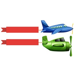 Airplane and red advertising ribbon vector