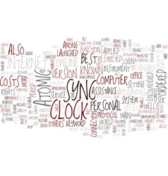 Atomic clock sync text background word cloud vector