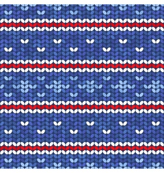 Blue knitted seamless pattern with red and white vector
