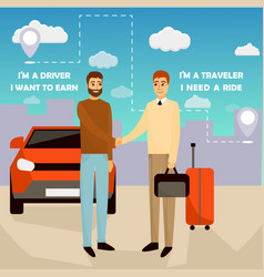 Carpooling concept in cartoon vector