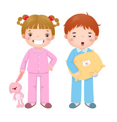 Children wearing pajamas vector