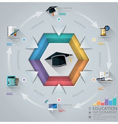 Education and graduation infographic with hexagon vector
