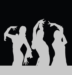 Flamenco dance girl silhouette on black vector
