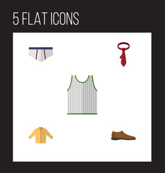 Flat garment set of underclothes banyan singlet vector