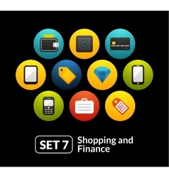 Flat icons set 7 - shopping and finance collection vector image