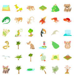 Forest vegetation icons set cartoon style vector