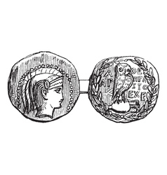 Greek Silver Coin vector image vector image