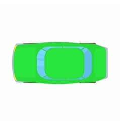 Green car top view icon cartoon style vector image