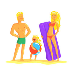 Happy parents and their son resting on the beach vector