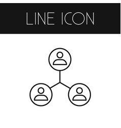 Isolated networking outline sharing vector
