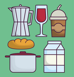 Italian coffee maker and food vector