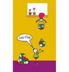 Kids playing with balls in the backyard vector image