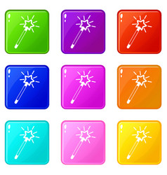 Magic wand set 9 vector