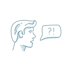 Man with dialog speech bubble discussion vector image