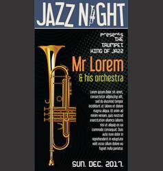 poster jazz festival trumpet vector image vector image