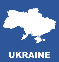 Ukraine map on blue background flat vector
