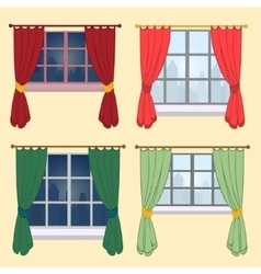 Set of curtains on a yellow background vector