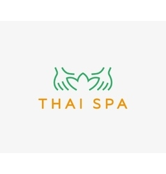 Hands lotus spa resort logotypecreative vector