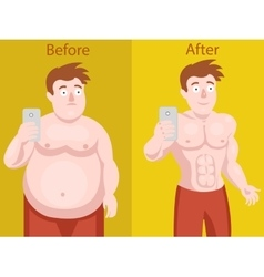 Fat man doing selfie before and after weight loss vector