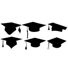 set of different graduation hats vector image