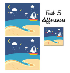 Beach scene with the sailing boat at a night find vector