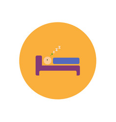 Stylish icon in color circle man sleeps vector