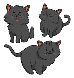 Black cats trio vector