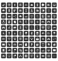 100 network icons set black vector image