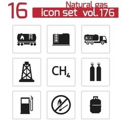 black natural gas icons set vector image