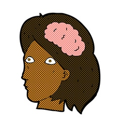 Comic cartoon female head with brain symbol vector