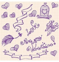 Set of hand drawn symbols valentines day vector image
