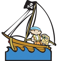Pirate boat with boy vector