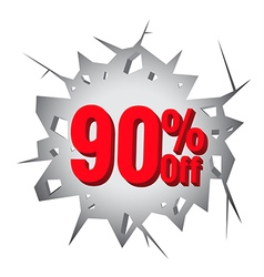 Sale 90 percent on hole cracked white wall vector