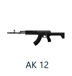 assault automatic black rifle ak12 military gun vector image