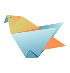blue and yellow origami of bird on white vector image
