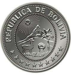 bolivian silver centavo coin vector image vector image