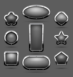 Chrome frames or metal panel buttons vector