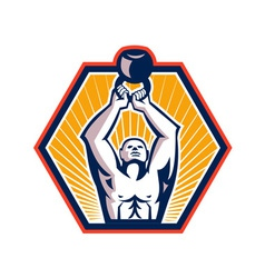 Crossift athlete lifting kettlebell front retro vector