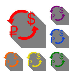 Currency exchange sign rouble and us dollar set vector