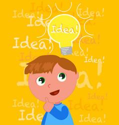 Cute boy with a smart idea vector