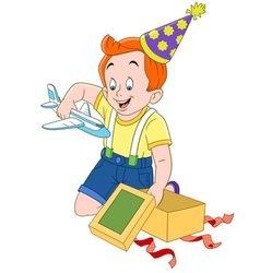 cute happy cartoon boy with a toy plane vector image vector image
