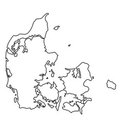Denmark map of black contour curves of vector