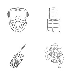 Equipment mask barrel barricade paintball set vector