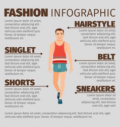 Fashion infographic with sport style man vector