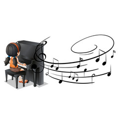 girl playing piano with music notes in background vector image vector image