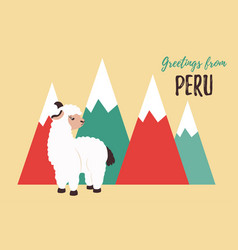 Greeting card from peru with cute lama vector