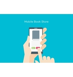 Hand holding smartphone with online mobile book vector image vector image